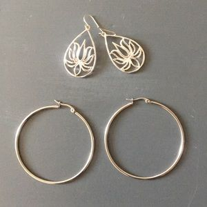 Two Pairs of Silver/Pewter Earrings